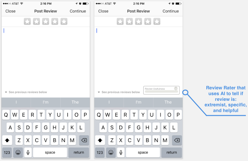 Original review page (left). New version (right.)