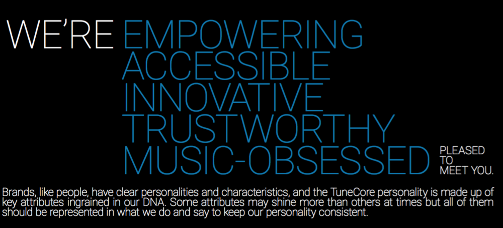 TuneCore global brand guide / attributes .  See more