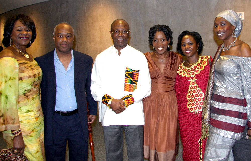 STARTING SECOND FROM LEFT: director charles burnett, ghanain entrepreneur edward annan, actress akuyoe graham, erika, and fashion designer iyeshantu manga.