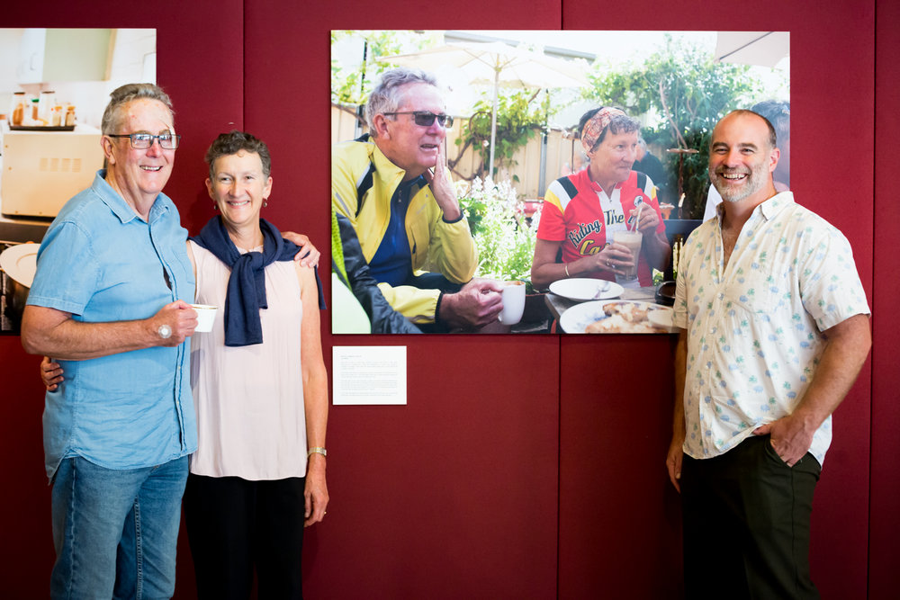 Photographer Tim White with his subjects at The Art of Ageing 2018 opening. Credit: Art Pharmacy Consulting / Jodie Barker