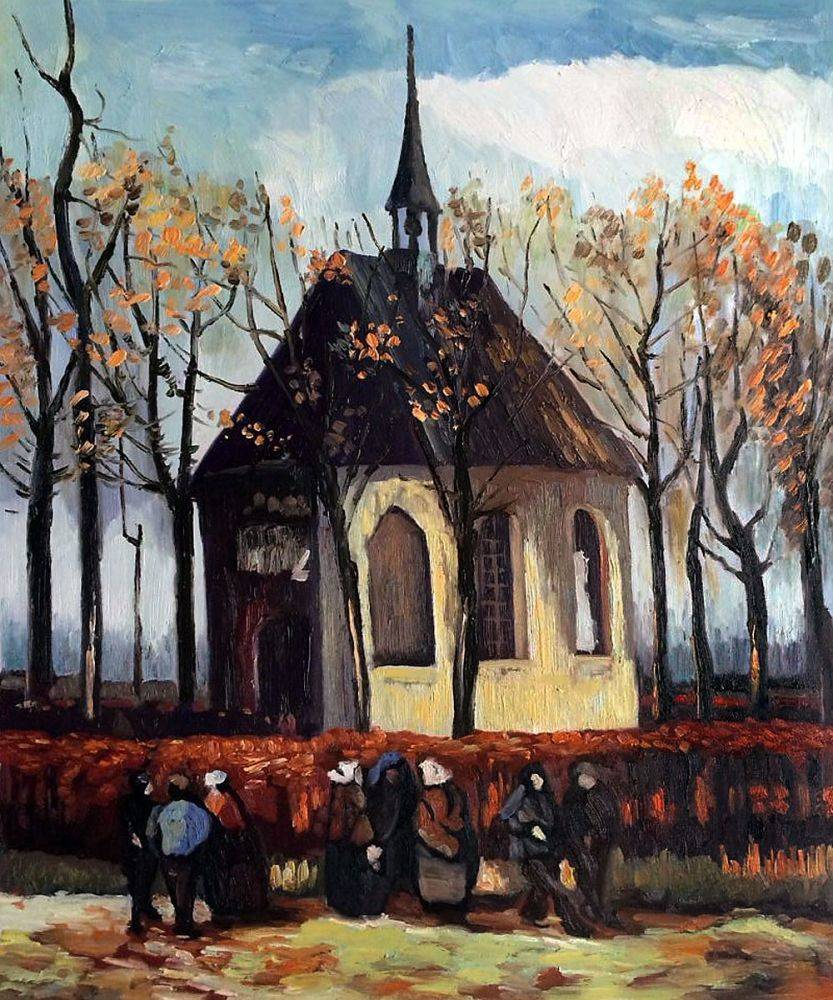Congregation Leaving the Reformed Church in Nuenen, by Vincent van Gogh, was recently rediscovered after being stolen.