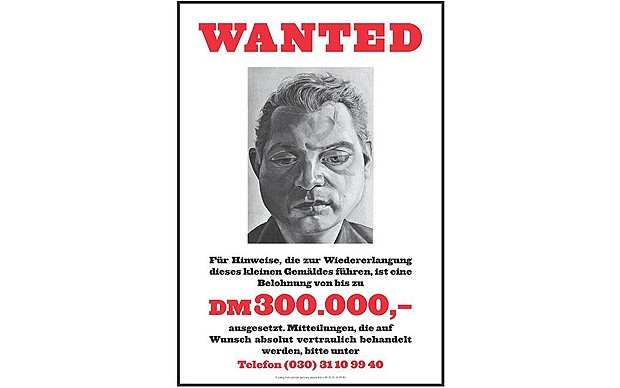 A portrait of Francis Bacon by painter Lucian Freud was famously stolen in 1988, with Freud designing this poster in a bid to get his work back.