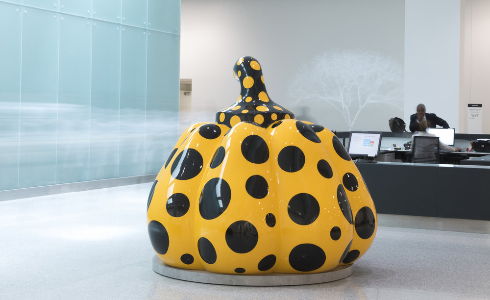 Yayoi Kusama, Pumpkin, 2014, Fiberglass-reinforced plastic and urethane paint. Credit: Steve Travarca, Cleveland Clinic Center for Medical Art & Photography)