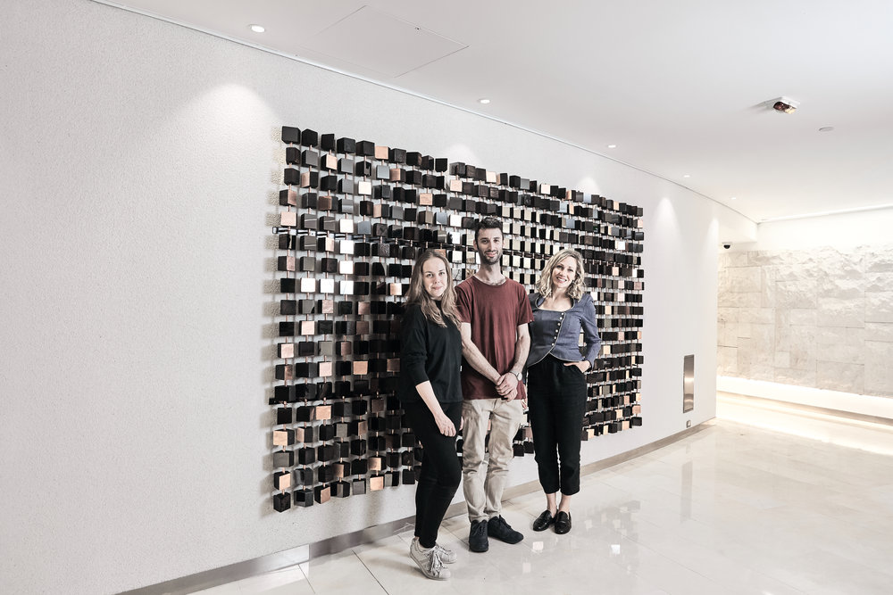Sophie, Jonathan and Art Pharmacy Consulting Emilya Colliver (L-R). Credit: So Watt/Nic Gossage