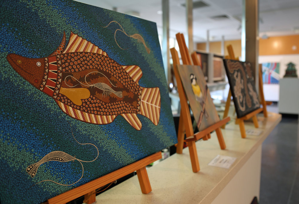 Inmate paintings at Boomgate Gallery. Images courtesy of CSNSW