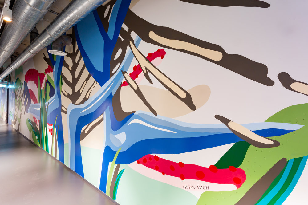 Murals by James Lesjak-Atton at Kafnu. Credit: Art Pharmacy Consulting