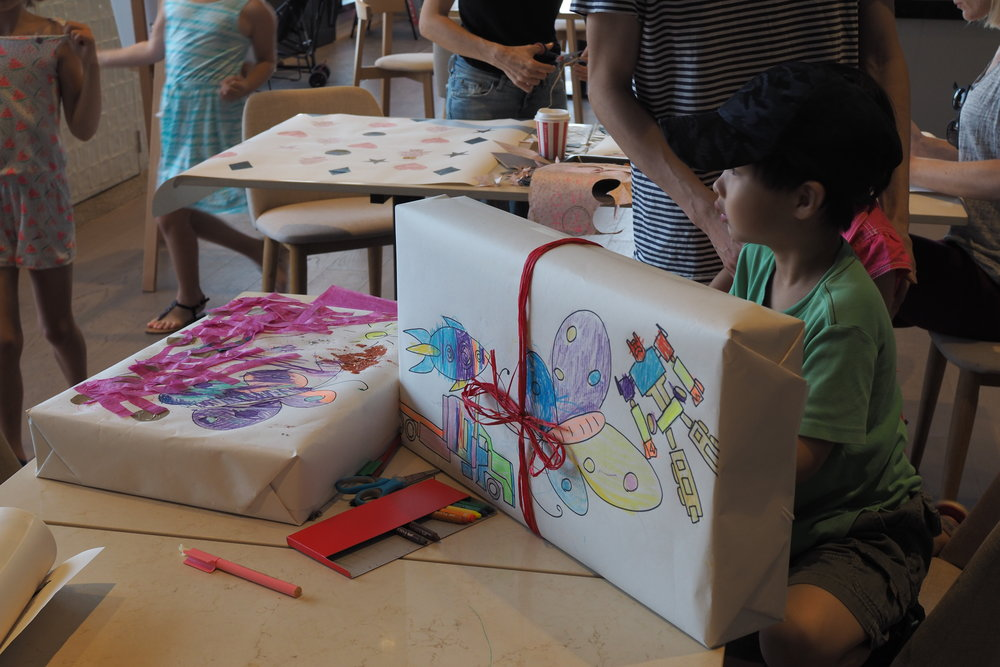 Children's Christmas Wrapping Workshop. Image credit: Art Pharmacy Consulting