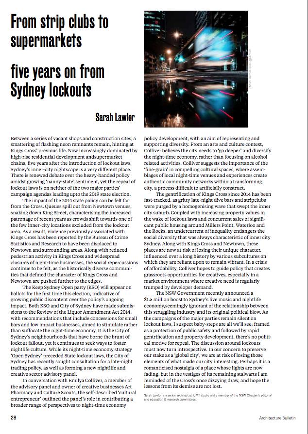 Emilya was interviewed about Sydney's nightlife Credit: Architecture Bulletin