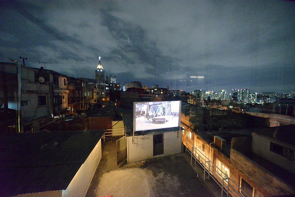 rooftop video installation