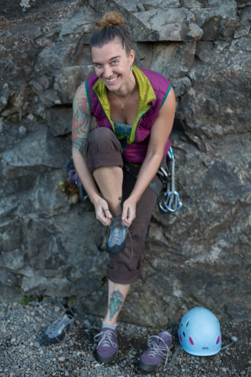 Co-founder and current Mamma Bear to the She Rocks group Alexis Vergalla (photo credit: Daniel Silverberg). Alexis has been with She Rocks since the start and she has the purple swag to prove it. Originally from NJ, she moved to Seattle in 2008 and started climbing in 2010. In addition to She Rocks she's actively involved in the Washington Alpine Club. Her first love is alpine but is happy climbing anything from ice to boulders.