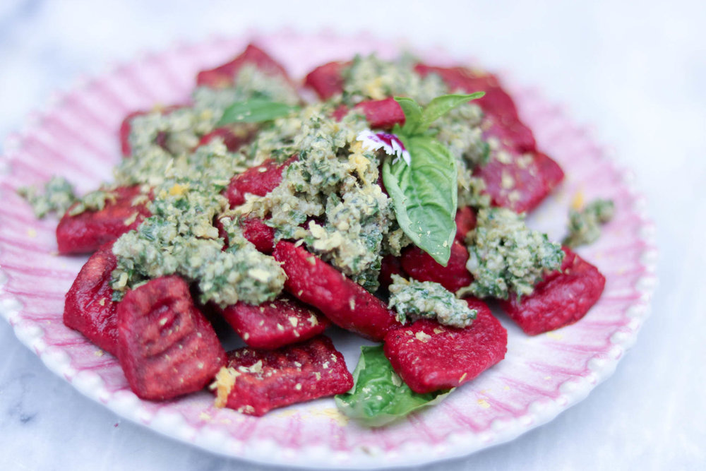 beet gnocchi w/ lemon walnut pesto