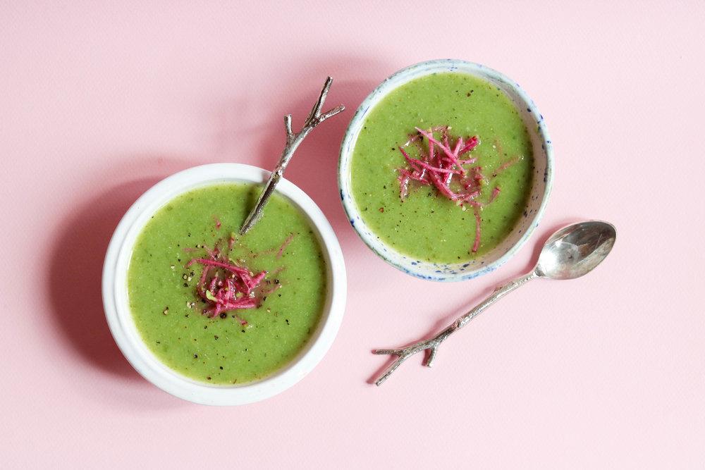 zucchini, leek + spinach soup