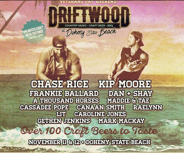 Y'all should spend your Sunday Funday buying tickets to the @driftwoodfest on the beach in Southern California! What a line up!