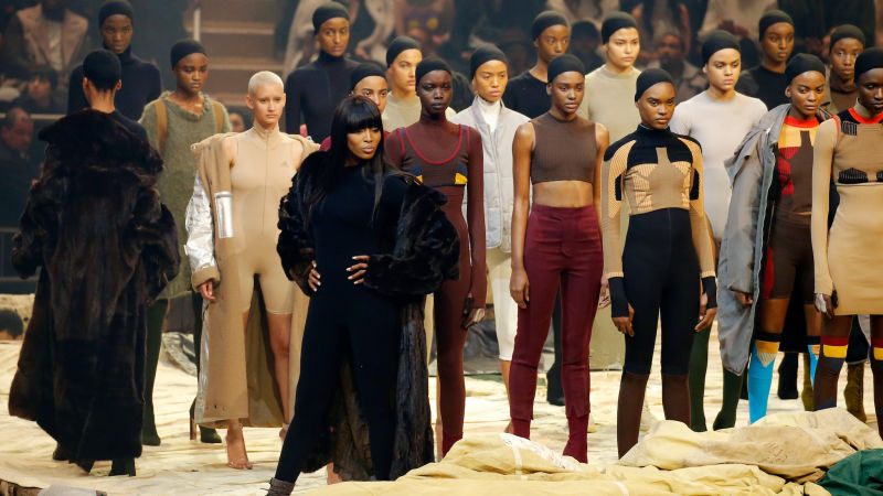 Model Naomi Campbell (left) was seen on the runway of Kanye West fashion show.