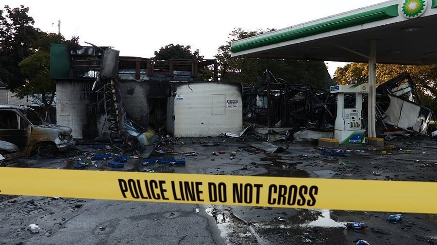 BP gas station that was burned down in the riot