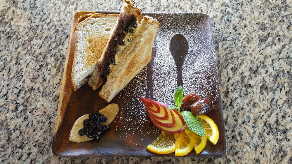 P.B.J. - All homemade peanut butter and berry compote with toasted VIVO bread. Small side of fresh fruit