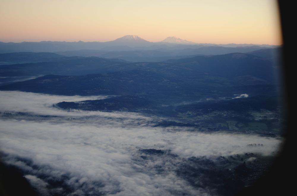 Mt. Rainier at dawn via airplane ascent