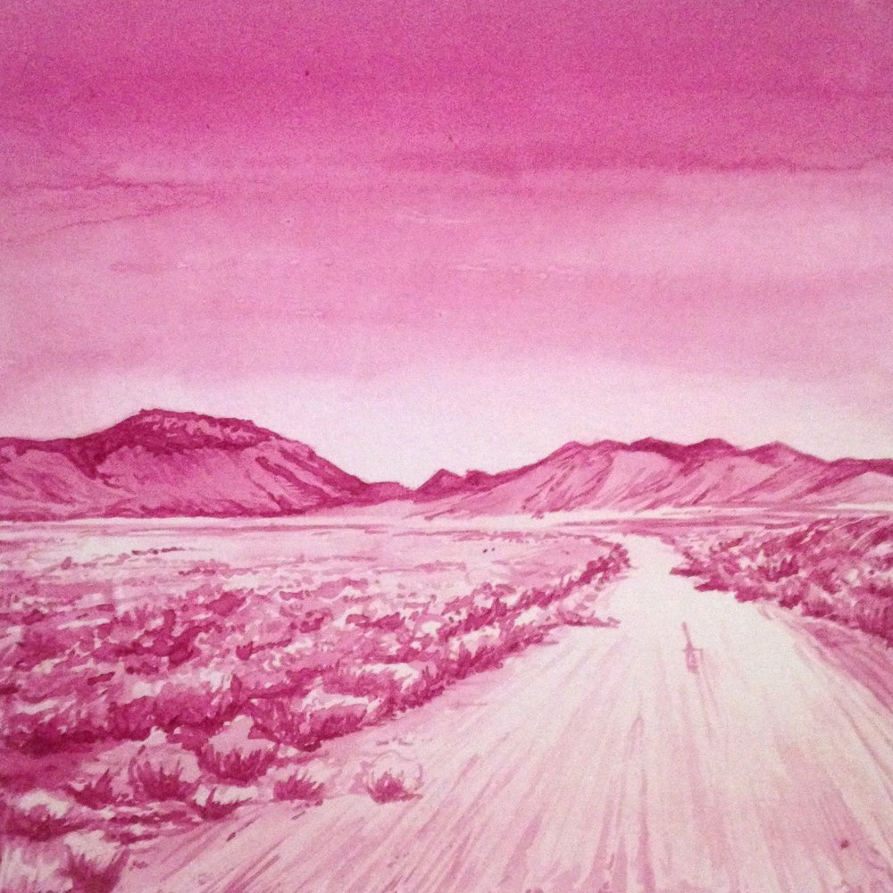 """Beet Land."" 8""x8"" -- 12x12 framed.  Medium is beet juice on paper."