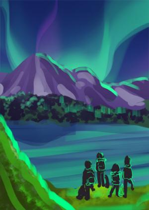Premier essai de composition directement à la couleur.