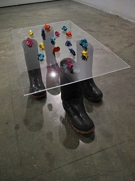 Tectonic Plate Study (four right foot rubber boots), 2011