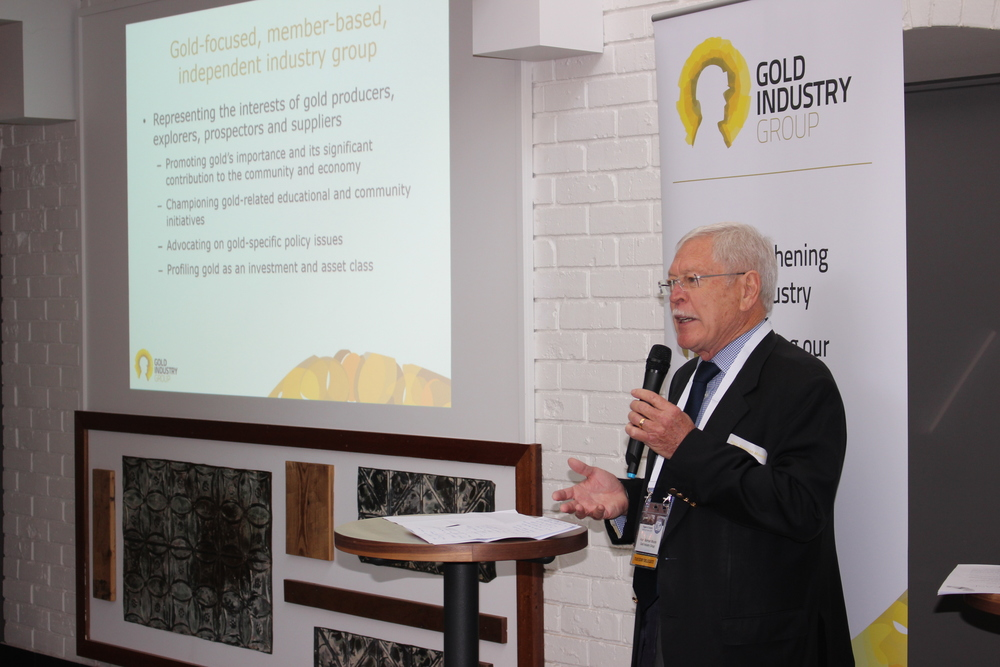 Chairman Hon. Norman Moore officially launching the Gold Industry Group