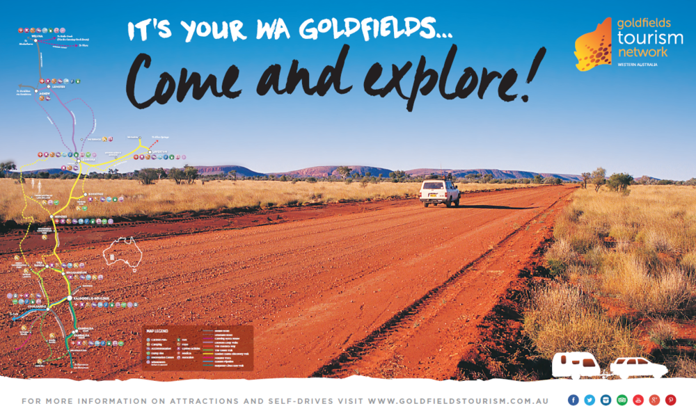 Begin planning your outback adventure on the Golden Quest Discovery Trail. Map image supplied courtesy of the Goldfields Tourism Network Inc.