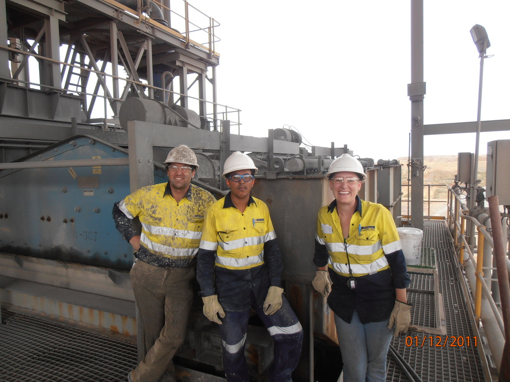 Gold Technology Group (Greg Wardell-Johnson, Hamza Ahmed, Teresa McGrath) sampling the gravity circuit at Telfer Gold Mine as part of an optimisation/modelling study.