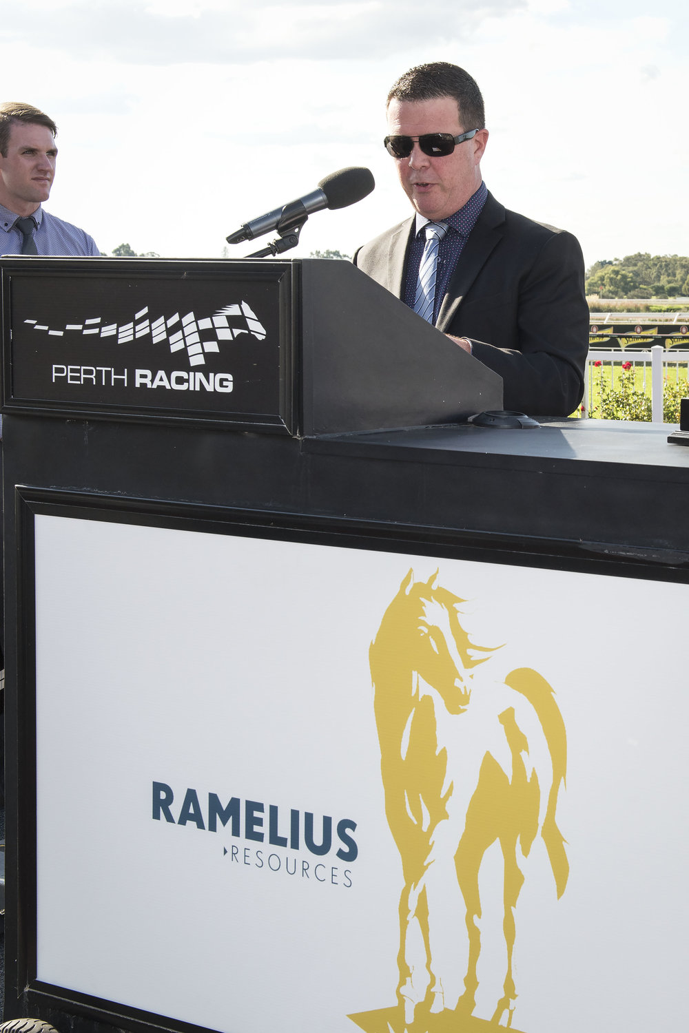 Ramelius Resources Managing Director Mark Zeptner presenting after the Ramelius race
