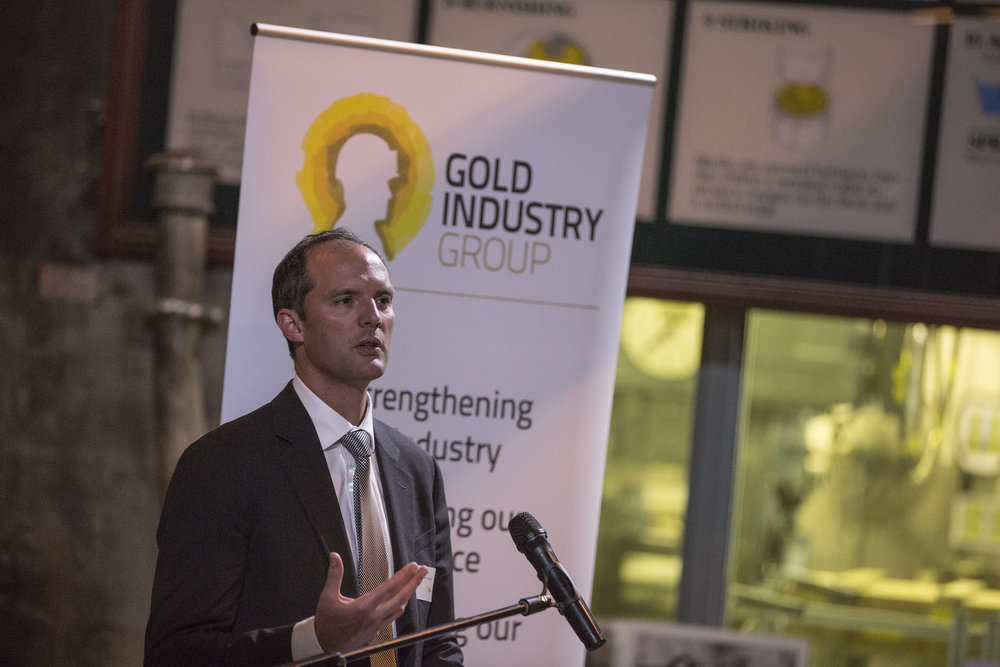 Deloitte Access Economics Partner Matt Judkins speaking at the Gold Industry Group Sundowner