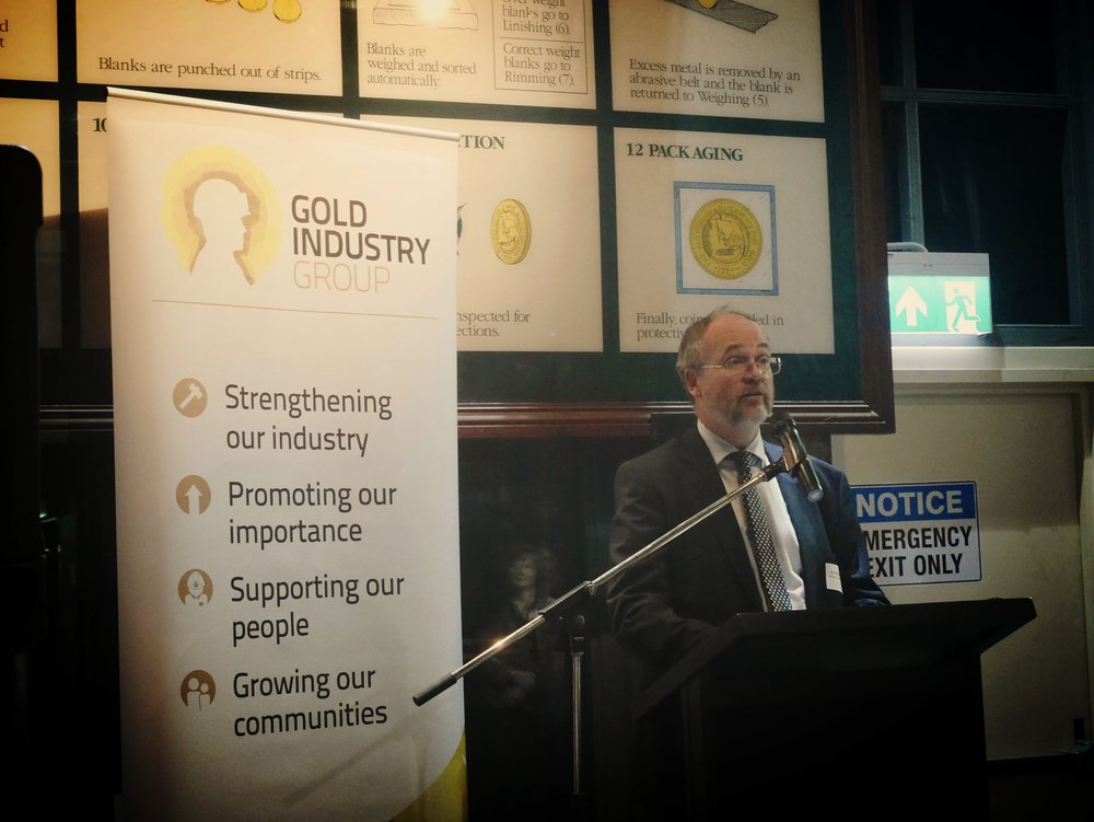 Minister for Mines and Petroleum, Hon. Bill Johnston, providing an address at the GIG Sundowner.