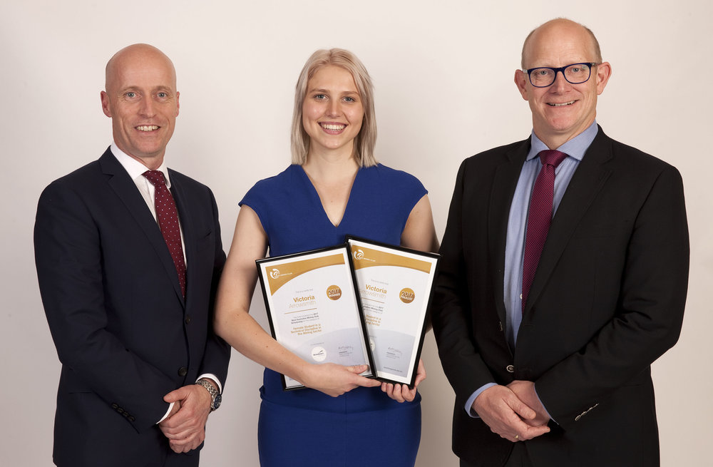 Victoria Arrowsmith, winner of the Female Student in a Technical Discipline in the Mining Sector, with Newmont Australia Regional Senior VP Alex Bates and Group Executive of Environment and Social Responsibility Ken Ramsey.