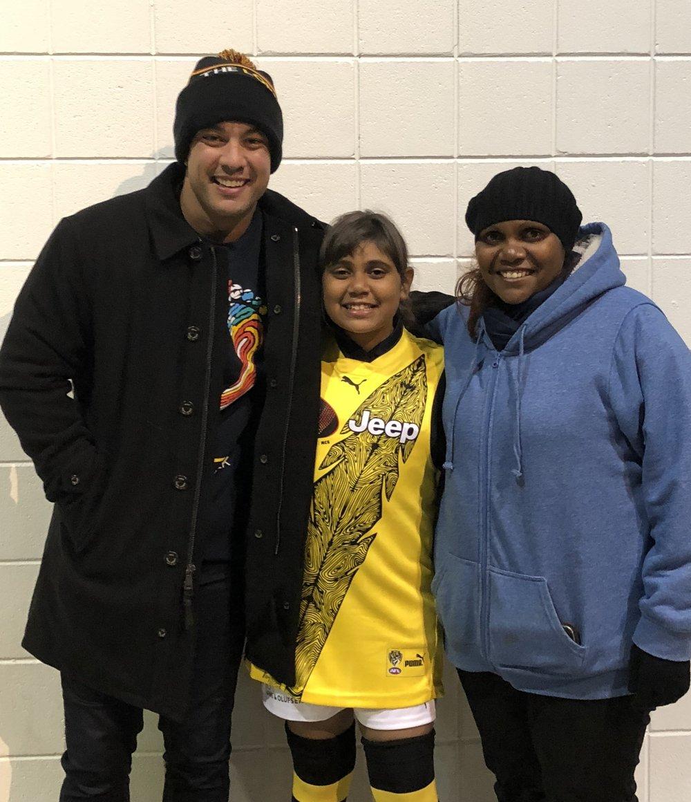 [L - R] Former West Coast Eagles player, Daniel Kerr, with Zali and Enza Ryder.