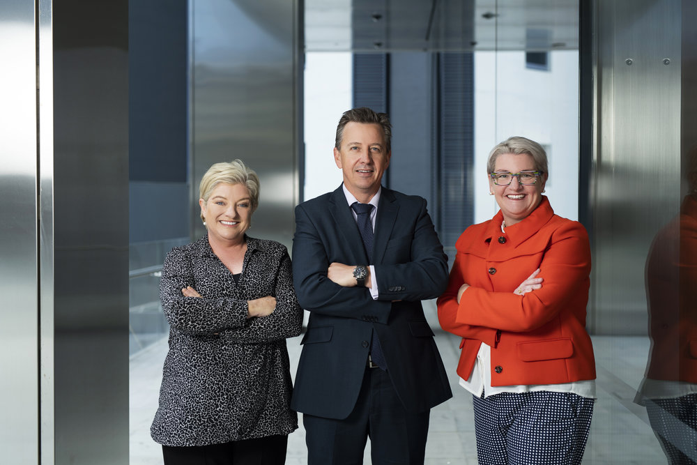 Cannings Purple Chief Executive Officer Annette Ellis, Managing Director Warrick Hazeldine and new Queensland State Director Peta Baldwin.