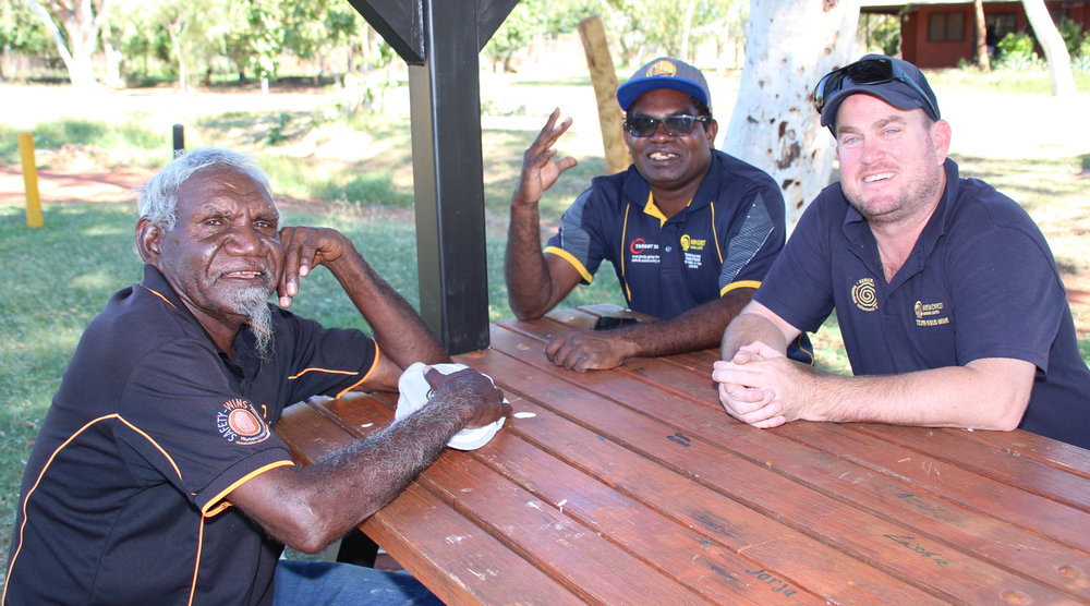 Newcrest Mining Manager External Affairs and Social Performance Ben Bryant (on right) meeting with Martu Elder Merridoo Walbidi and advisor Dan Toby.