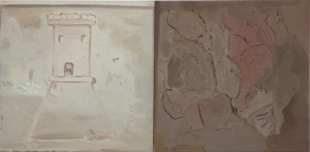 Castel/Ieri, 2013, oil on canvas, 100x50 cm