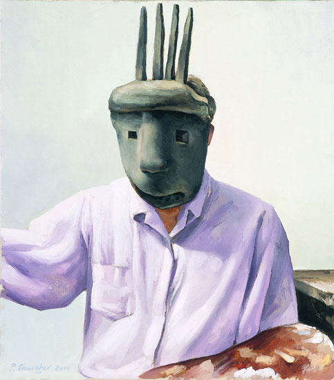 Self-portrait in African mask