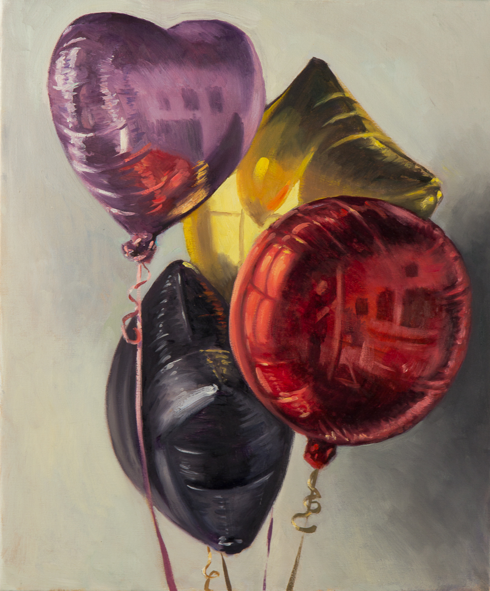 Small Self Portrait in Bunch of Balloons