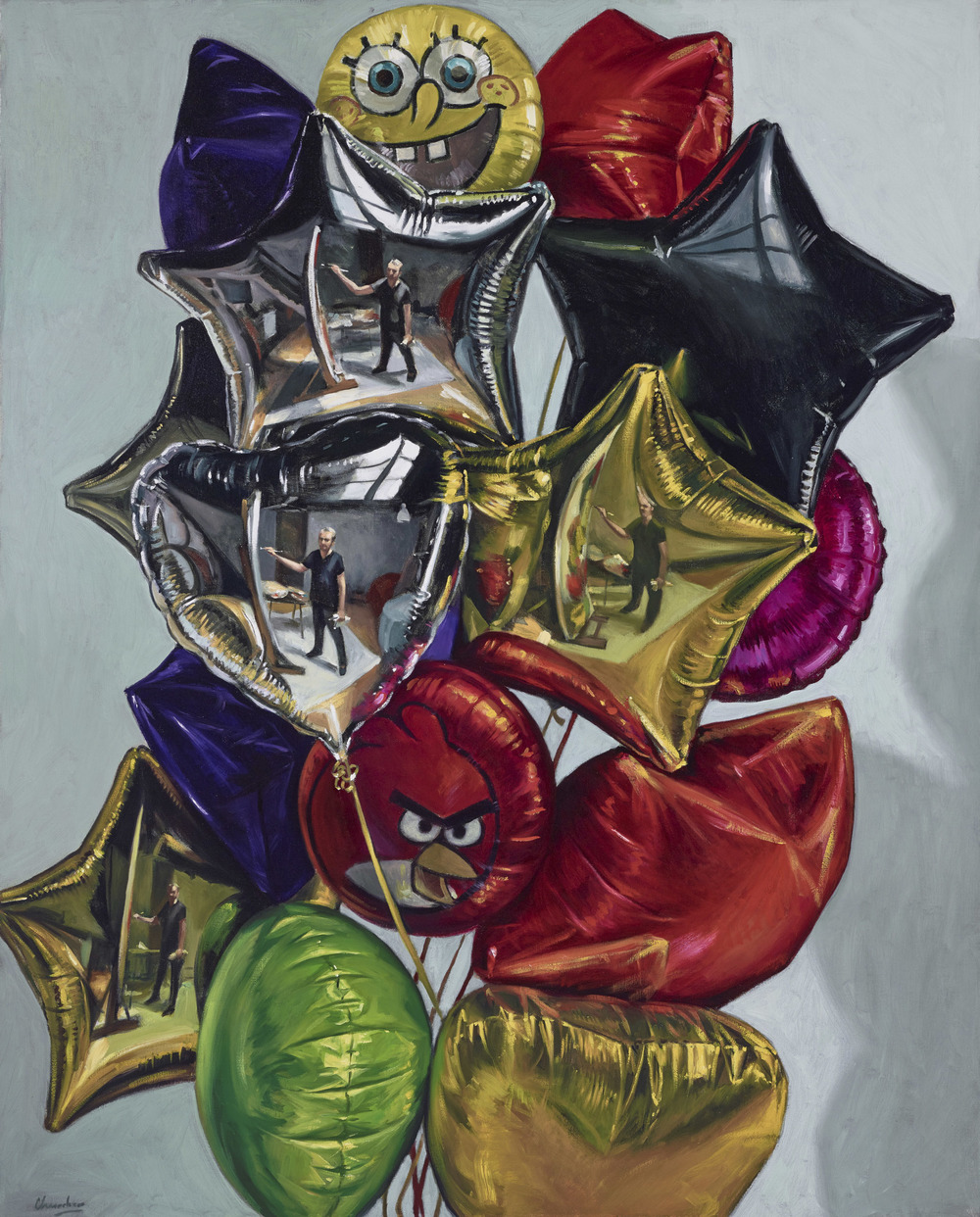 Four Self Portraits in a Bunch of Balloons