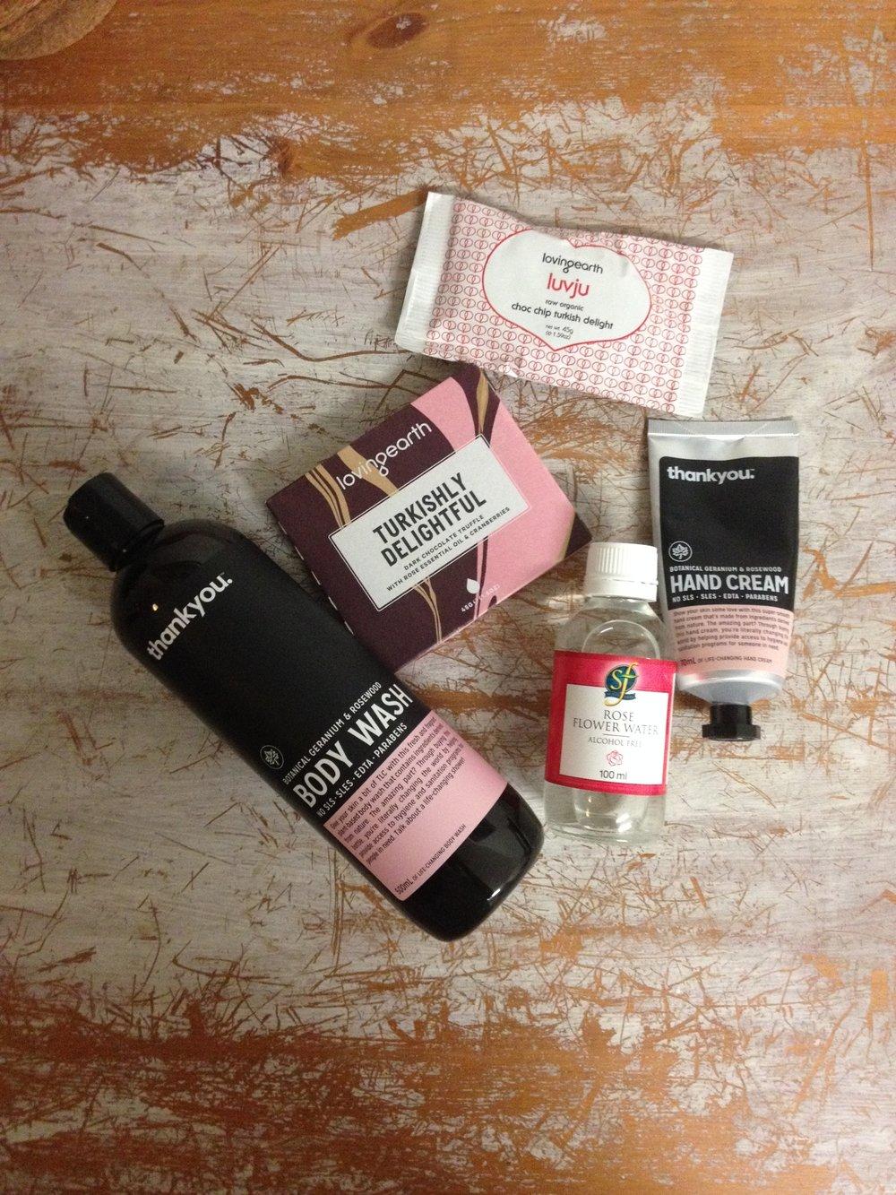 rose water handcream chocolate shower gel