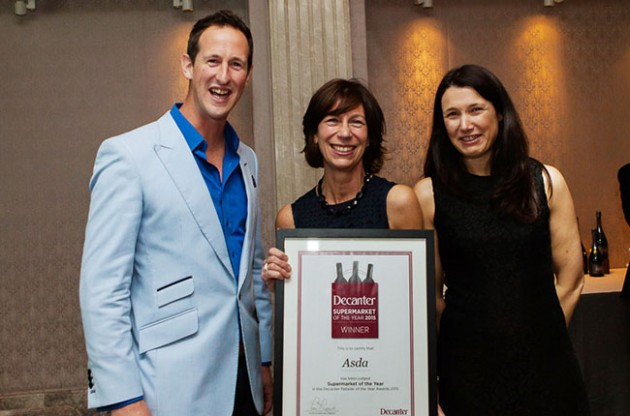 Asda - best supermarket retailer. Decanter 2015 wine retailer awards. Photo courtesy of Decanter.