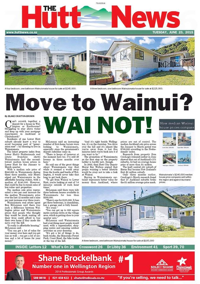 Hutt News 23 June 2015 front page.jpg