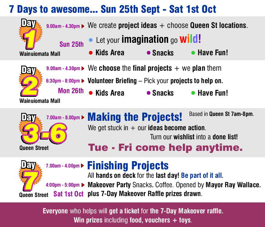 Check out the days + times. Come help for even just 1 hour!! It all adds up to make a big difference. Just come to queen st + get stuck in. Sun is design. mon is planning. tues-sat is making. sat 4pm is celebrating. have fun. make a difference.