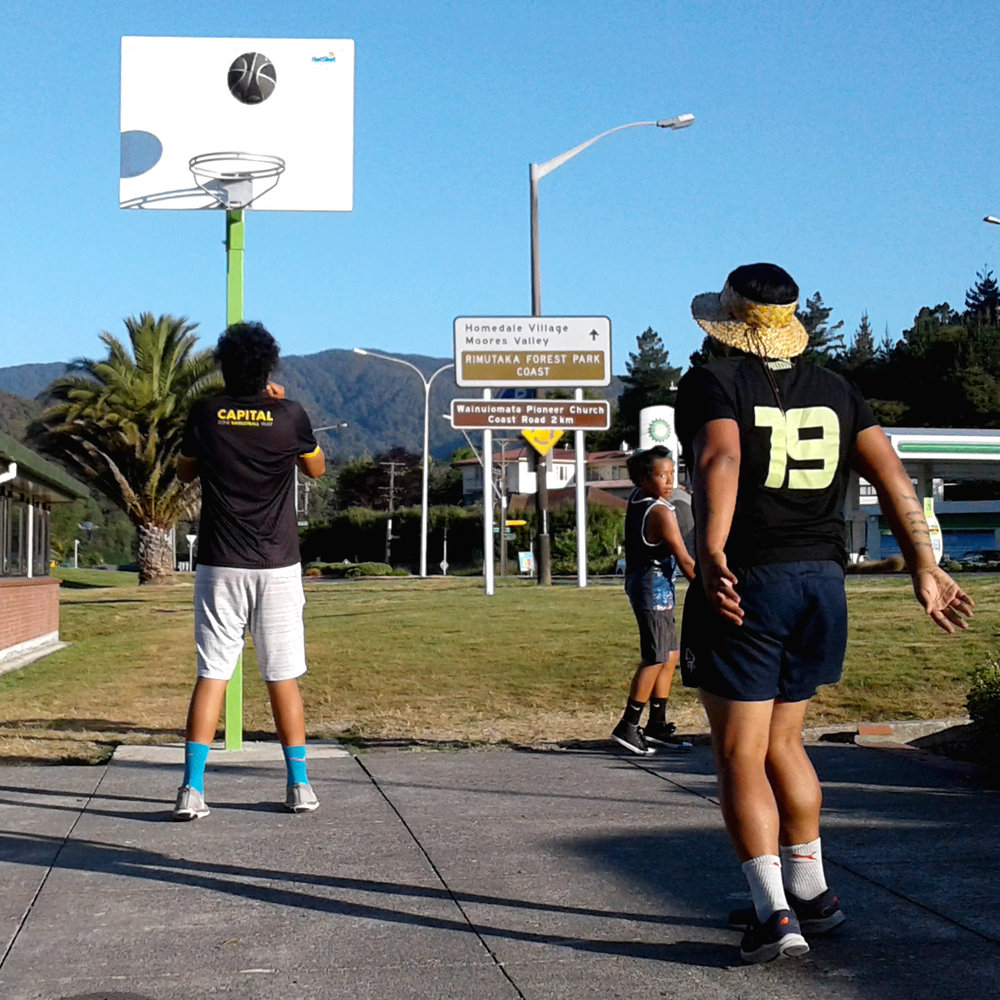 getting a basketball hoop up beside wainuiomata library has created a great space for kids, youth & families to have some active fun together.