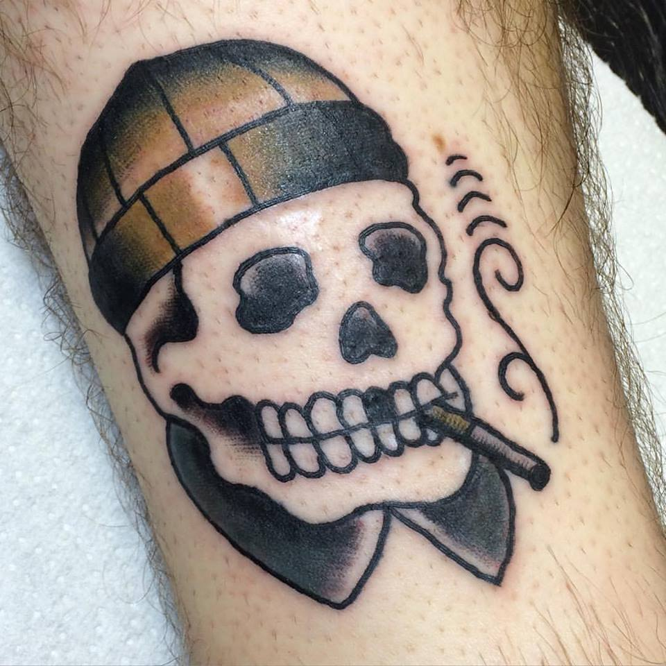 Our apprentice Alex did his first tattoo, on himself this week. Nice work man.