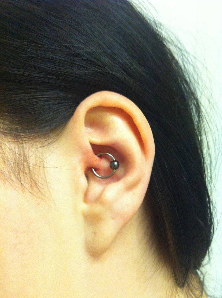 This daith piercing was done by the one and only Hayley. This piercing has been linked to migrane relief, its not a certainty but one thing is for sure you'll get a nice piercing!