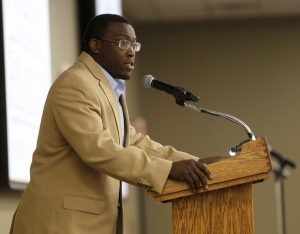 East High graduate Kyven Gadson delivers the keynote address at the Waterloo Schools Foundation Breakfast Thursday in Waterloo.  Photo by Brandon Pollock - Courier Staff Photographer