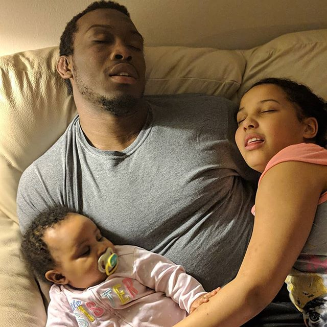 The 7 stages of fake family photos! Daddy's back home everybody act sleep for the gram!! Hayven close your eyes, Bella close your mouth and act normal while trying to act sleep!