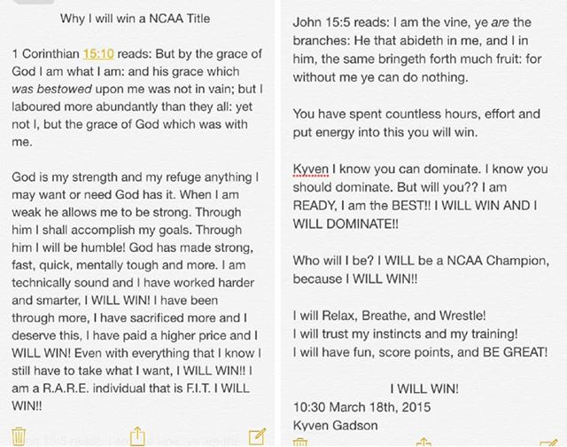On the way to the 2015 NCAA CHAMPIONSHIPS I wrote myself. The power of positivity and affirmations is real. I was so FREE before that competition. Positive Self-talk is a must!  #ncaawrestling #marchmatness #marchmatness2019 #wrestling