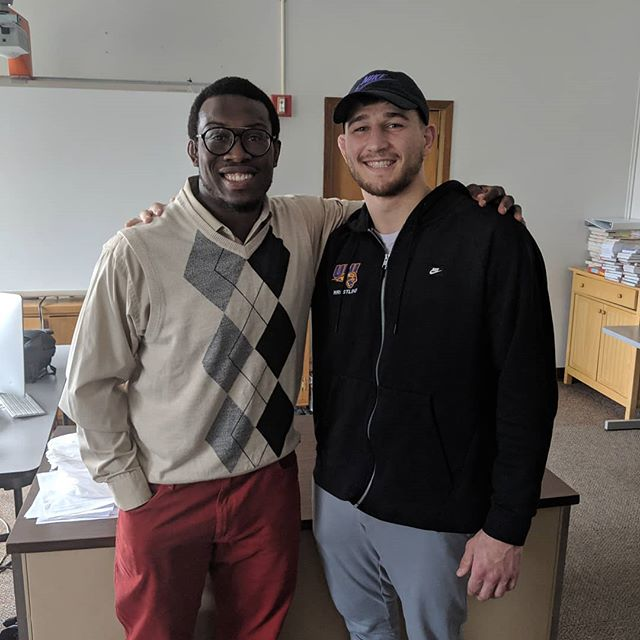 Had the awesome opportunity today to link up and speak at my high school with none other than the most current 184 lb NCAA champ Drew Foster @dre_nald_foster We spoke to the East High Leadership students about our journeys to becoming NCAA Champs and our humble beginning as kids wrestling in Iowa! Great opportunity @waterlootrojans thank you @jdeck59