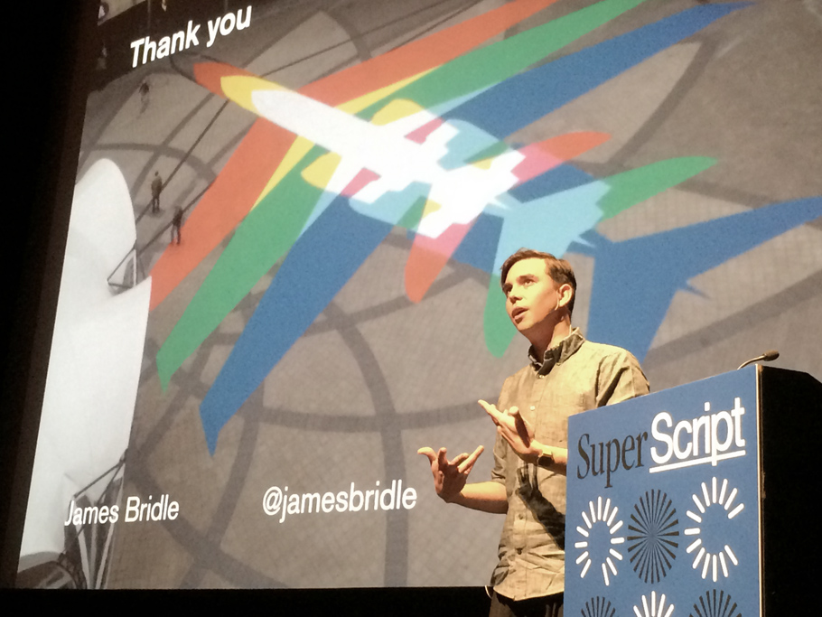 UK-based artist James Bridle gives his Superscript keynote. Photo: Paul Schmelzer